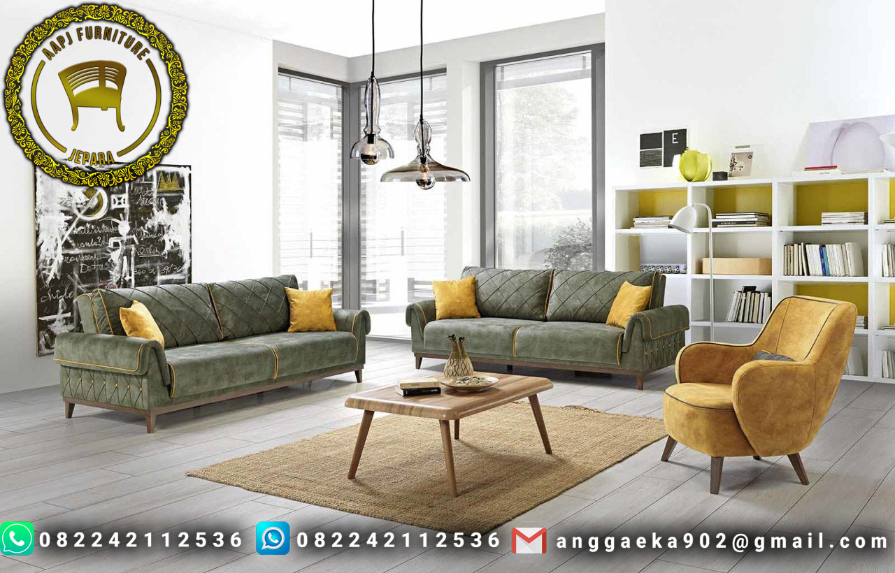 Set Kursi Tamu Sofa Retro Model Tebaru Murah